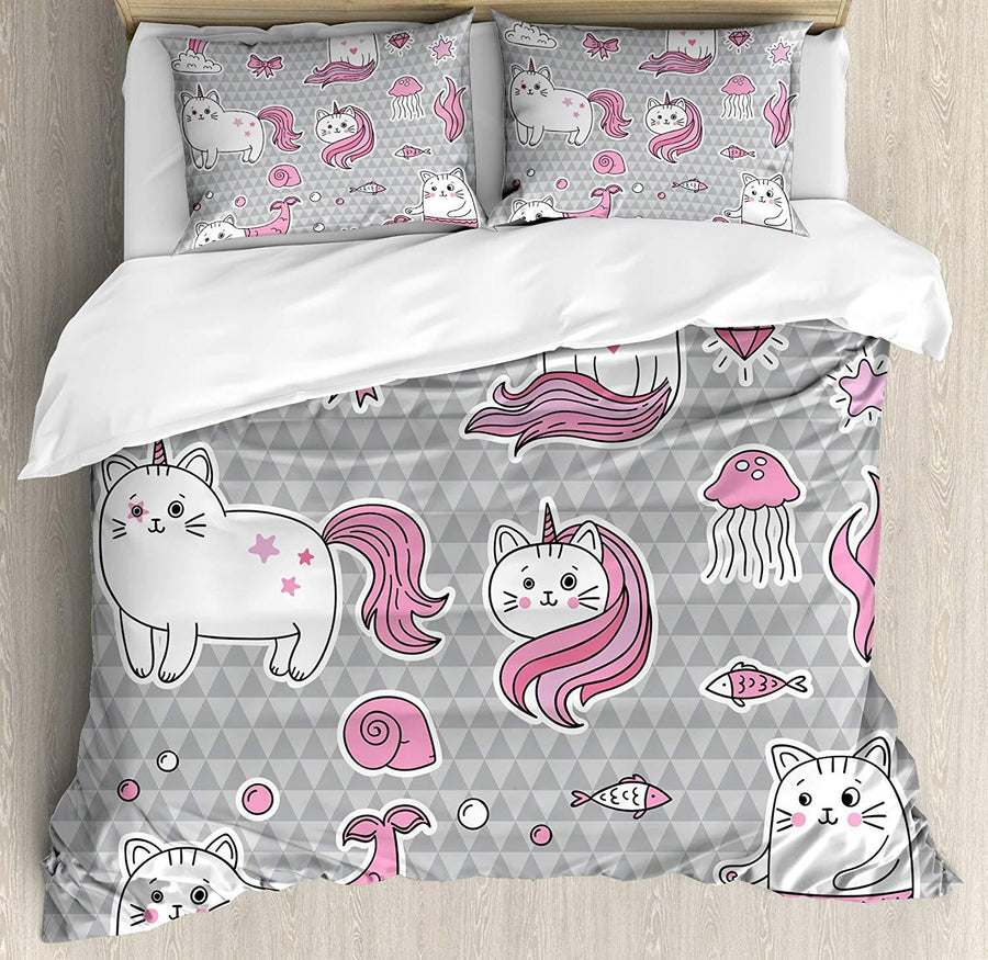 Gearhomies 3D Custom Bedding Set Cat Unicorn Bd002