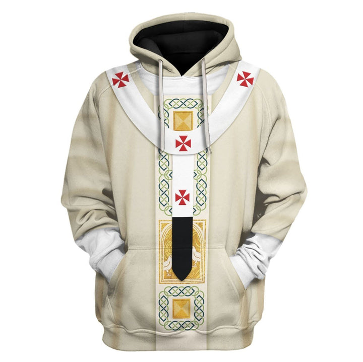 Pope Francis In White Liturgical Vestment Hoodie / S Vn342