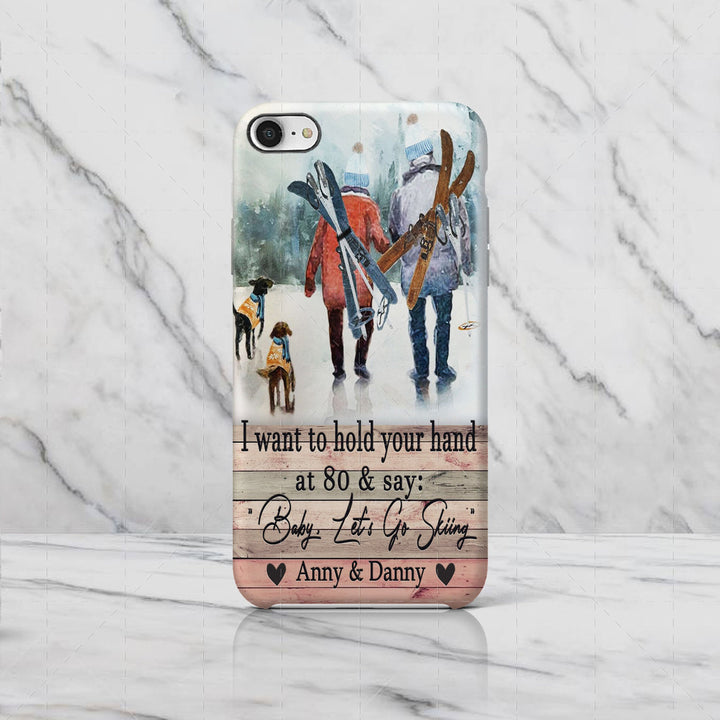 I Want To Hold Your Hand Skiing Custom Name Phone Case