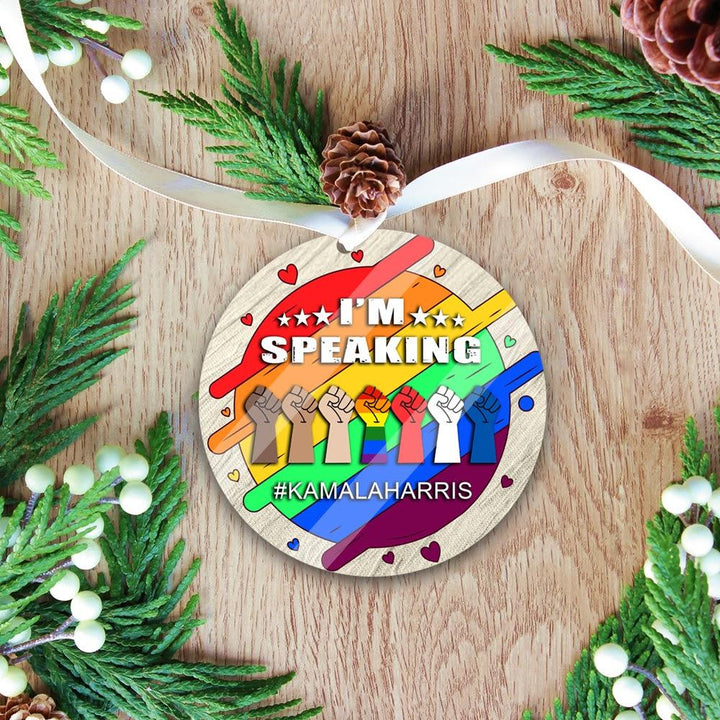 Lgbt Im Speaking Christmas Ornament Mica ( 9 X Cm - 3.5 Inches) / Pack 1 Kd718
