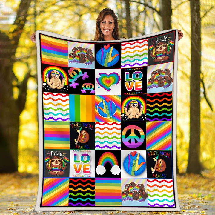 Lgbt Sloth Blanket / S (51 X 59 Inches - 4 5 Feet ) Kd378