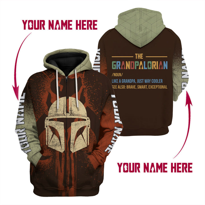 Personsalized Grandpalorian Like A Grandpa Just Way Cooler Fleece Zip Hoodie