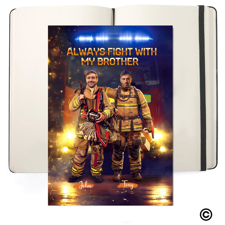 Personalized Photos Soft Cover Journals-BFF-D009 Personalized Canvas Always Fight With My Brothers Firefighter