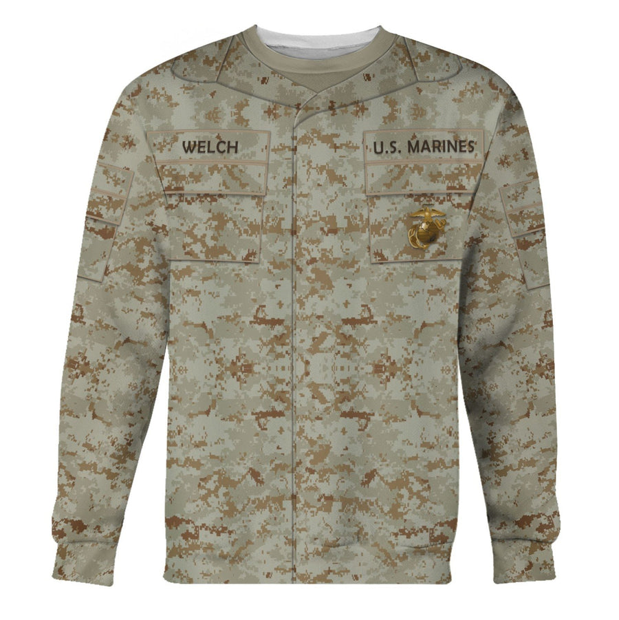 Marine Corps Combat Utility Uniform Dessert Pattern Custom Name Long Sleeves / S Vn336
