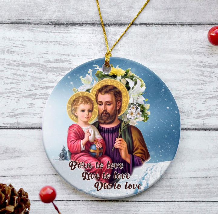 Kd438 Saint Joseph And Jesus Round Ceramic Ornament ( 9 X Cm - 3.5 Inches) / Pack 1