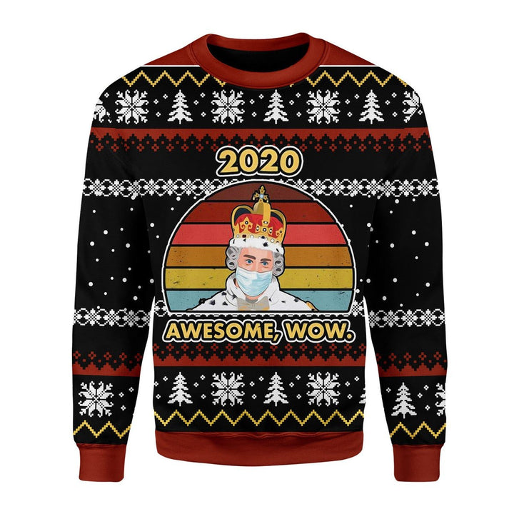 2020 Awesome Wow Christmas Ugly Sweater / S Kd758