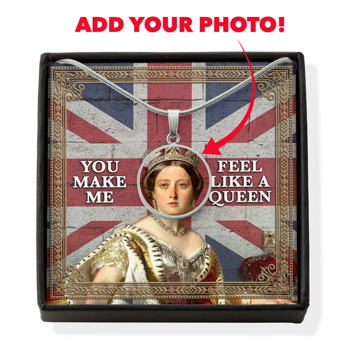 Personalised Face Portrait Queen Victoria You Are My Queen Circle Pendant With POD Message Card