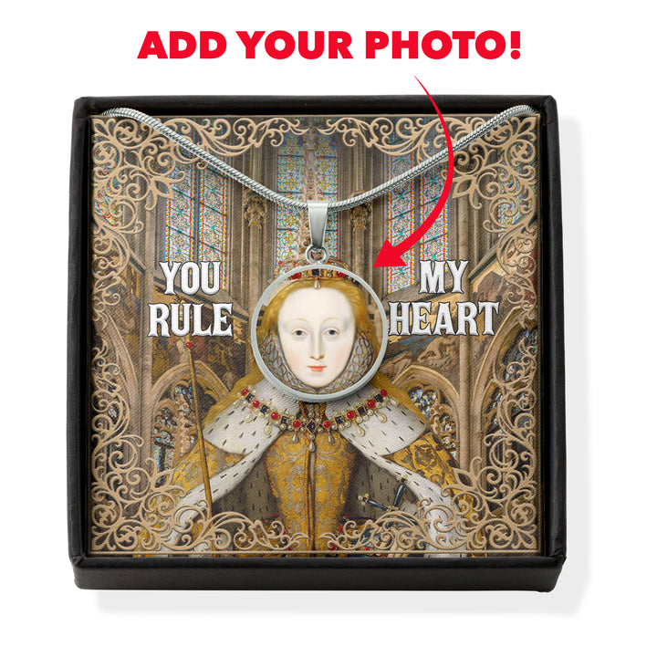 Queen Elizabeth You Rule My Heart Customized Photo Circle Pendant with POD Message Card