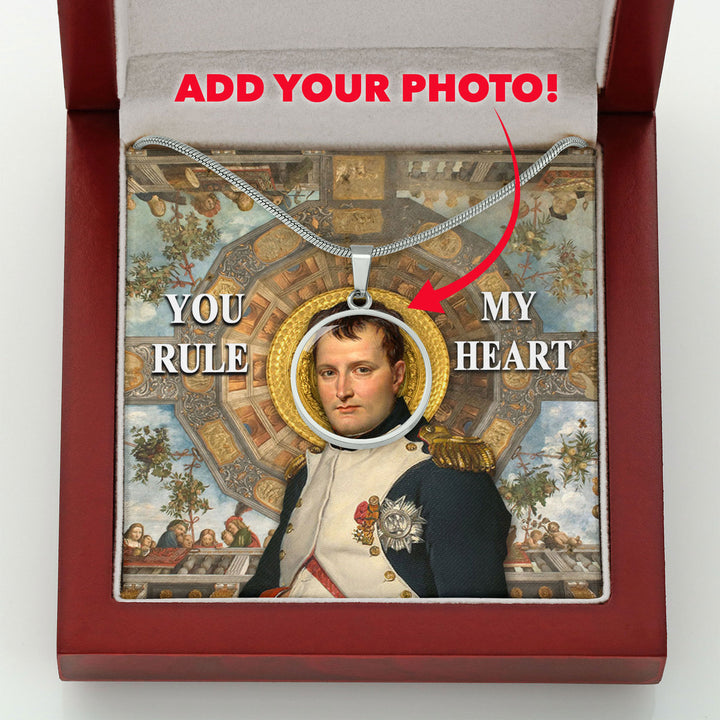 King Napoleon You've Conquered My Heart Customized Photo Circle Pendant with POD Message Card