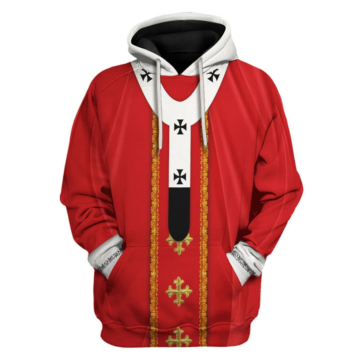 Red Liturgical Vestment Hoodie / S Vn329