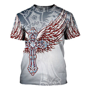 Christian Ornate Filigree Cross Angel Wings T-Shirt / S Qm1265