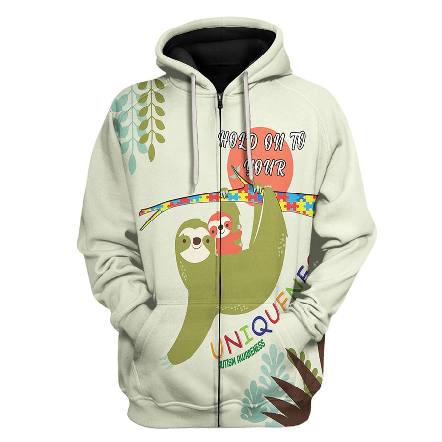 Hold On You Uniqueness Autism Awareness Zip Hoodie / Xs Au17221