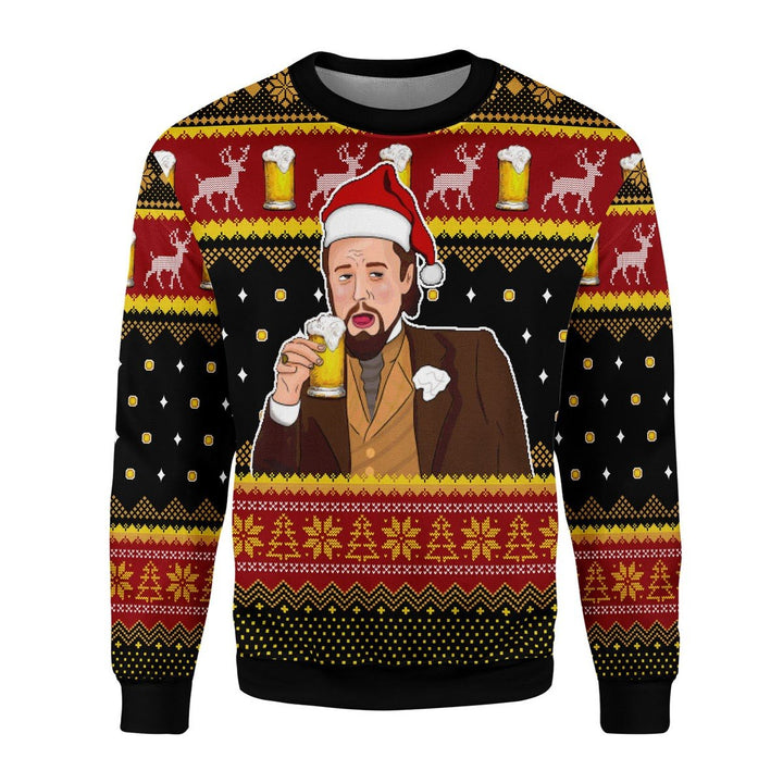 Leo Laughing Meme Drinking Bear Ugly Sweater Christmas / S Qr1783