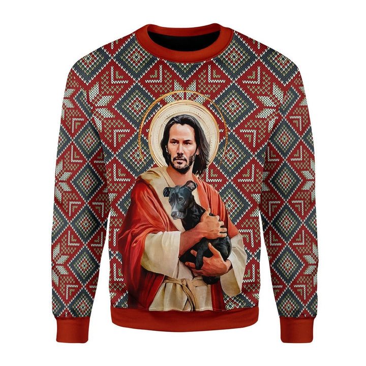 Jesus Keanu Reeves With Dog Christmas Ugly Sweater Chrristmas / S G438