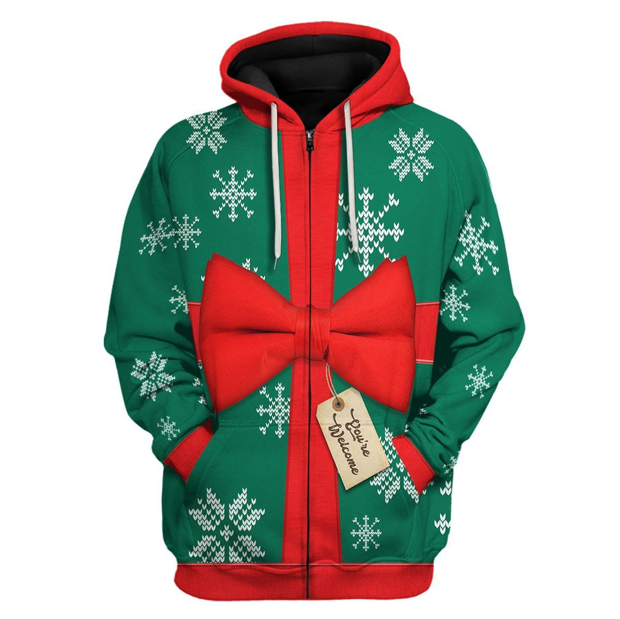 Present Ugly Christmas Sweater Zip Hoodie / S Qm1583