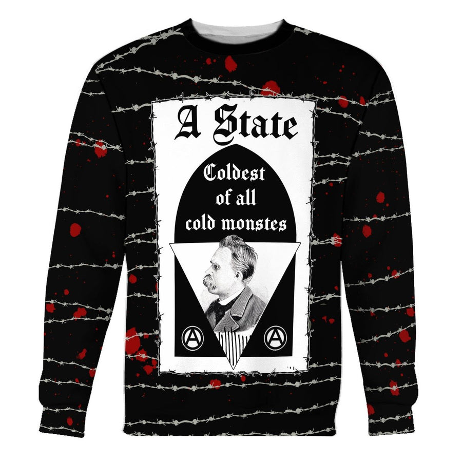 Friedrich Nietzsche State The Coldest Of All Cold Monsters Long Sleeves / S Hp473