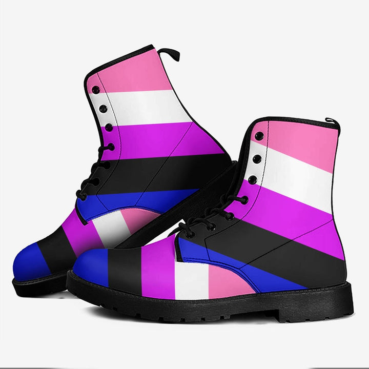 Genderfluid Pride Flag Leather Boots Men / 39 Kd732