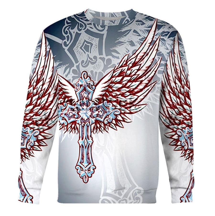 Christian Ornate Filigree Cross Angel Wings Long Sleeves / S Qm1265