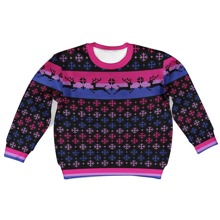 Bisexual Pride Flag Kids Ugly Sweater Kid Christmas / 2Xs G544
