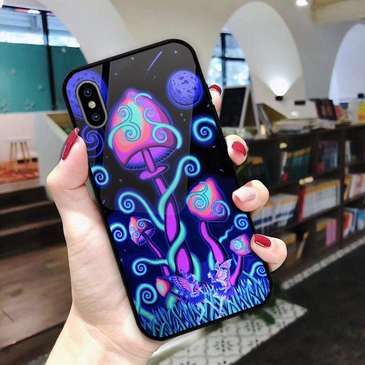 Gearhomies 3D Custom Glass Phone Cases Cover Psychedelia Mushroom Luminous Noctilucent Mr12220