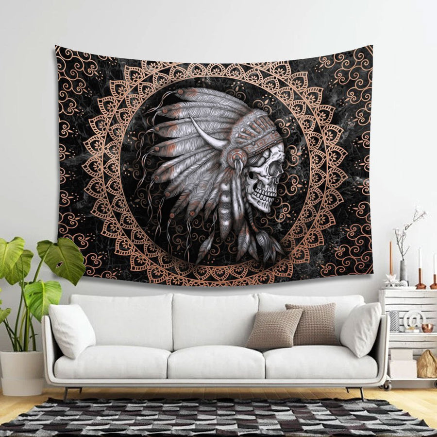 Native American Skull Tapestry - 4 Holes / S (27.6 X 39.4 Inches 2.3 3.2 Feet) Kd144