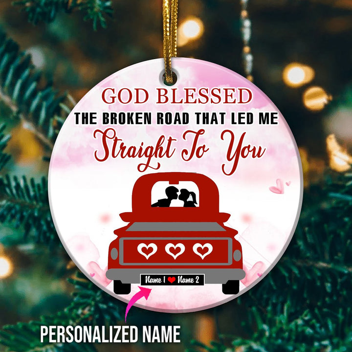 Personalized Love Couple Red Truck Ornament Mica ( 9 X Cm - 3.5 Inches) / Pack 1 G841
