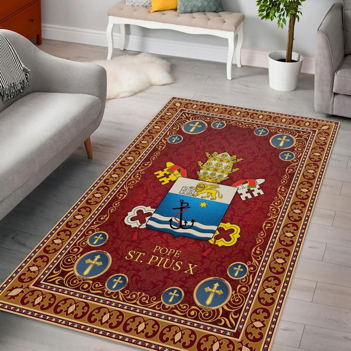 Pope St. Pius X Coat Of Arms Rug / Small (3 X 5 Feet 35 59 Inches) Qm1267