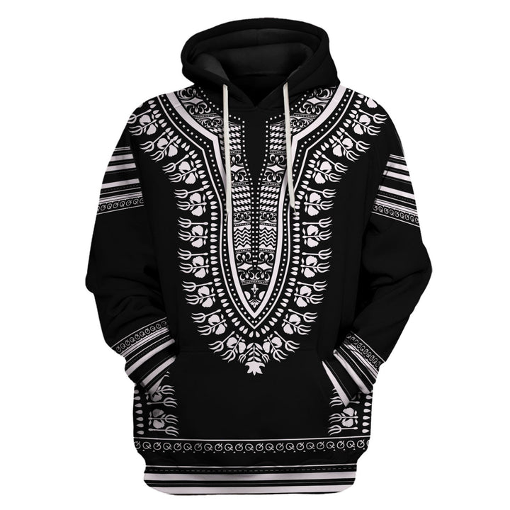 Black And White African Dashiki Hoodie / S Qm699