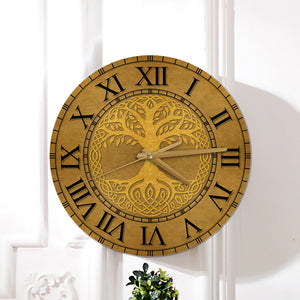Odin Tree Of Life Wood Clock