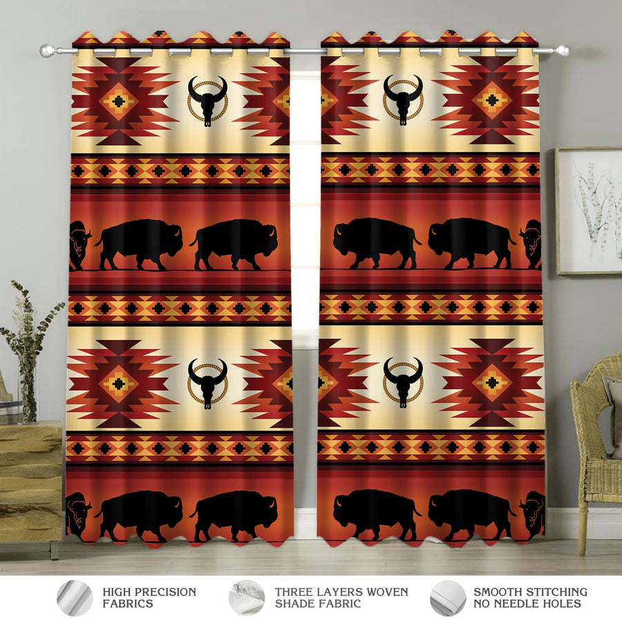 Native American Pattern Curtains Hp146 Window Curtains / A (W42*l63)