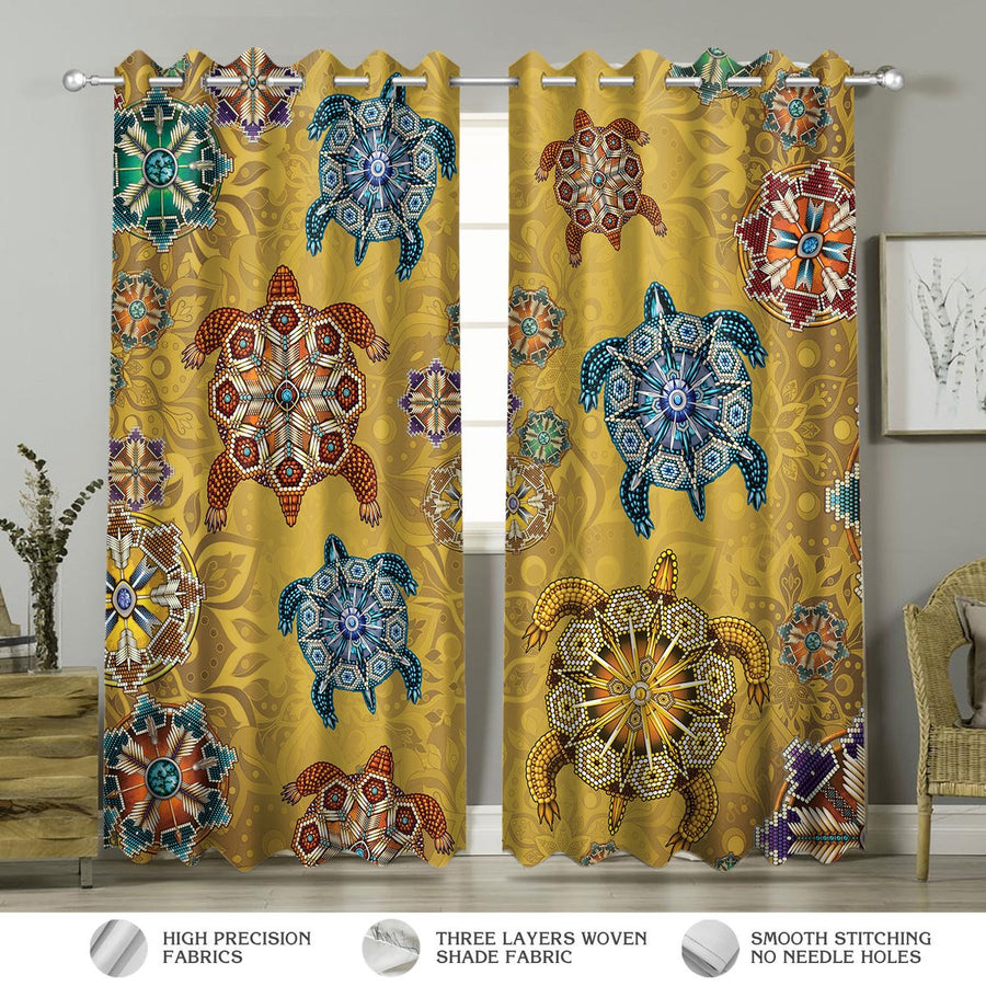 Turtle Native American Pattern Curtains Hp152 Window Curtains / A (W42*l63)