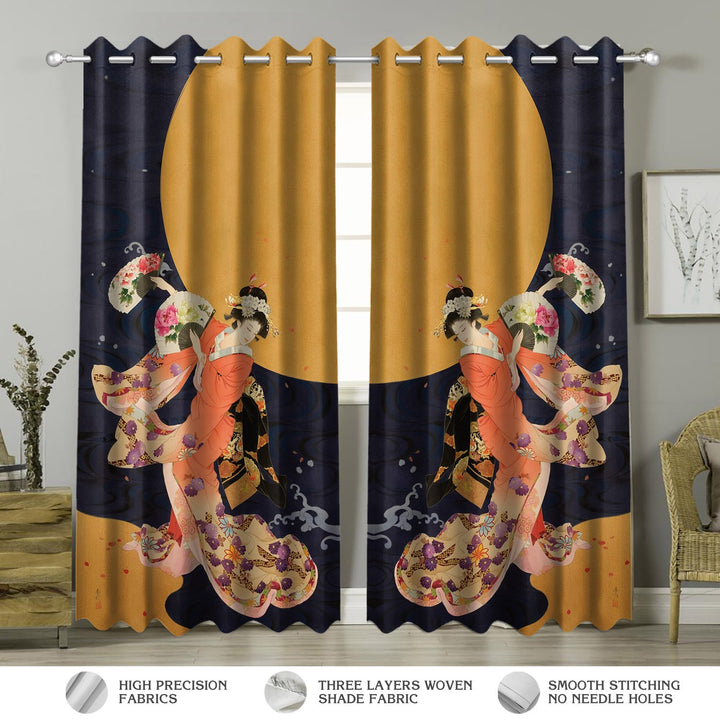 Geisha Dancing Under The Moon Window Curtains Curtains / A (W42*l63) Vn164