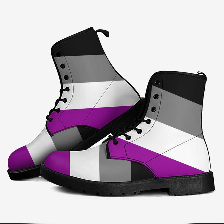 Asexual Pride Flag Leather Boots Men / 39 Kd733
