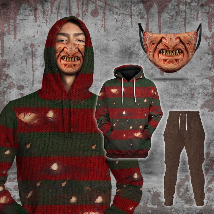 Freddy Krueger Matching Hoodie Hoodie+ Sweatpants + Face Mask / S Vn790