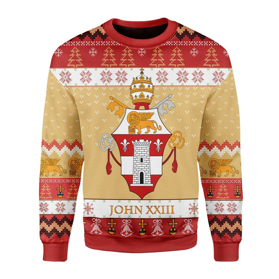 Pope John Xxiii Coat Of Arms Ugly Sweater / S G244