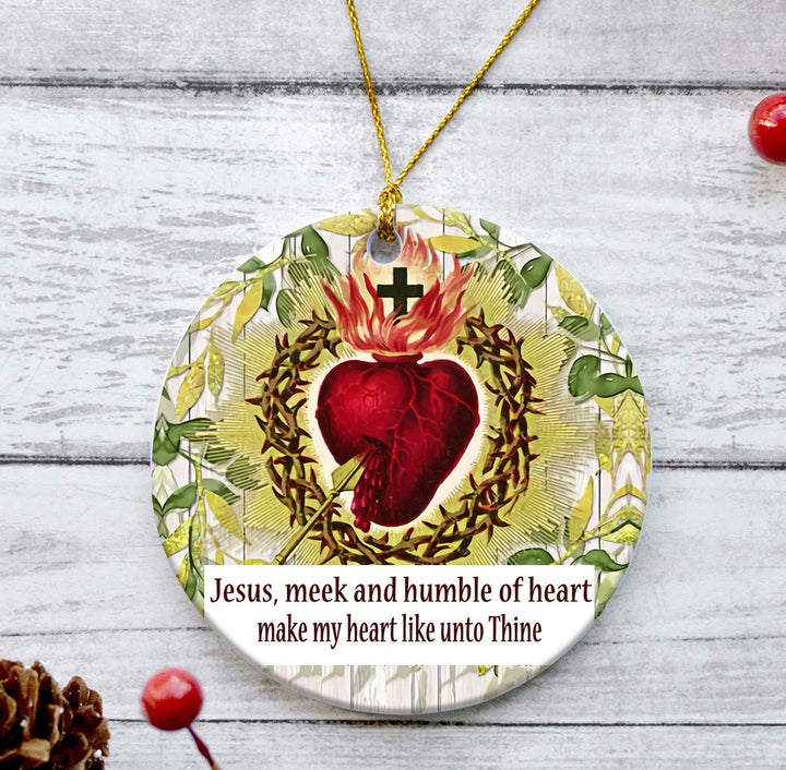 Kd436 Jesus Meek Humble Of Heart Round Ornament ( 9 X Cm - 3.5 Inches) / Pack 1