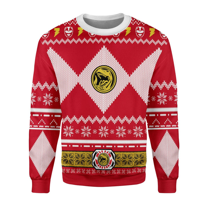 Red Power Ranger Christmas Ugly Sweater / S Kd811