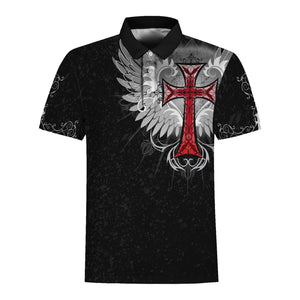 Jesus Old English Red Cross Polo Shirt / S Qm1369
