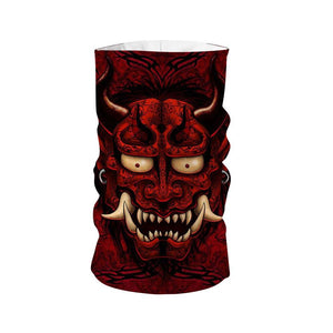 Gothic Red Oni Japanese Demon Tattoo Neck Gaiter & Horns Headband / Pack 1 Qm890