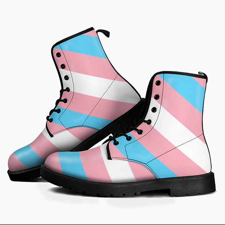 Transgender Flag Leather Boots Men / 6 Qm1699