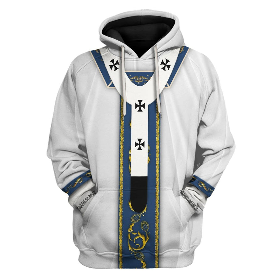 White Liturgical Vestments Hoodie / S Vn344