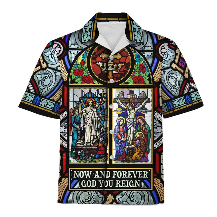 Now And Forever God You Reign Stained Glass Hawaiian Shirt Hawaii / S Hp287
