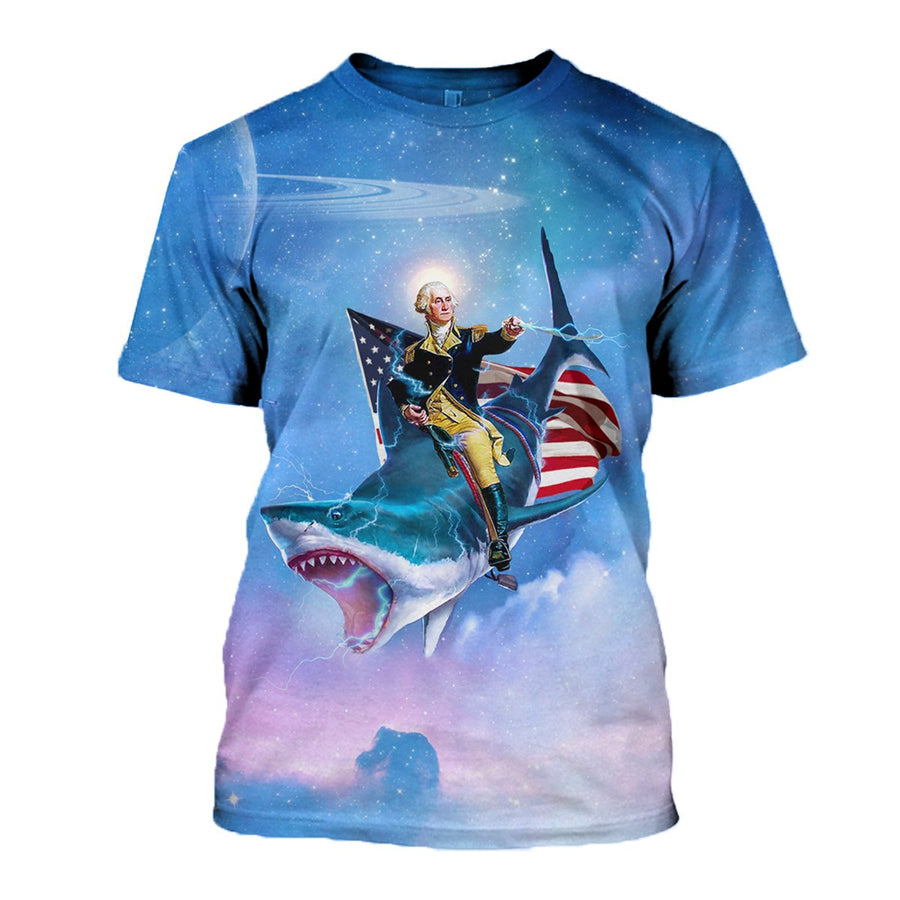 George Washiongton Shark T Shirt / S Apparel