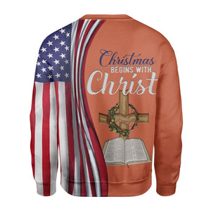 Christmas Begins With Christ Shirt Kd181 Zip Hoodie / S