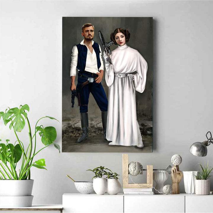 Customized Photos Canvas Couple  Princess Lia And Han Solo
