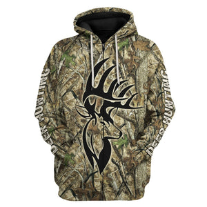 Deer Hunter Camo Fleece Zip Hoodie / S Qm1611