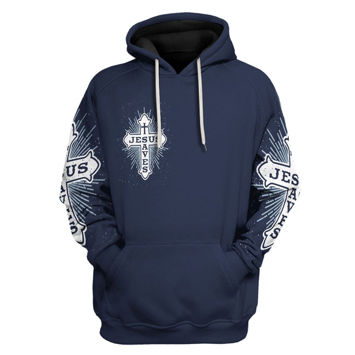 Jesus Saves Cross On Navy Blue Hoodie / S Qm1264