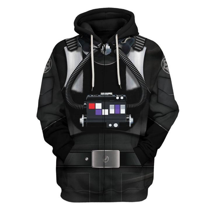 3D Tie Pilot All Over Print Qm216 Zip Hoodie / S
