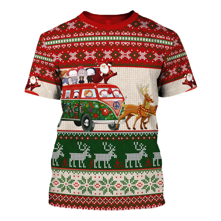 Santa With Horror Characters Christmas Sweater T-Shirt / S G121
