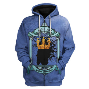 King Lear - William Shakepeare Zip Hoodie / S Vn632
